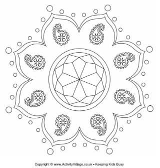 Rangoli Colouring Page For India Activities Theme