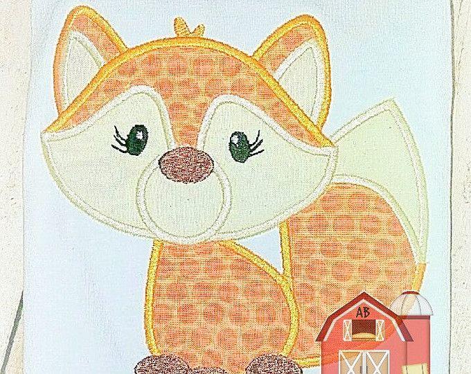 Fox applique design fox embroidery design woodland creature