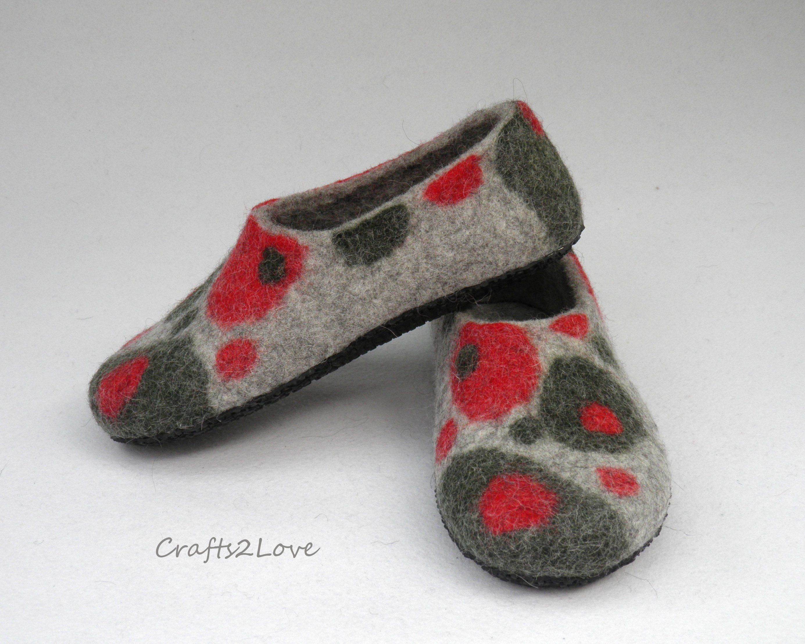 65eb708f00f67 Felted slippers Womens felt slippers with soles Felted Wool house ...