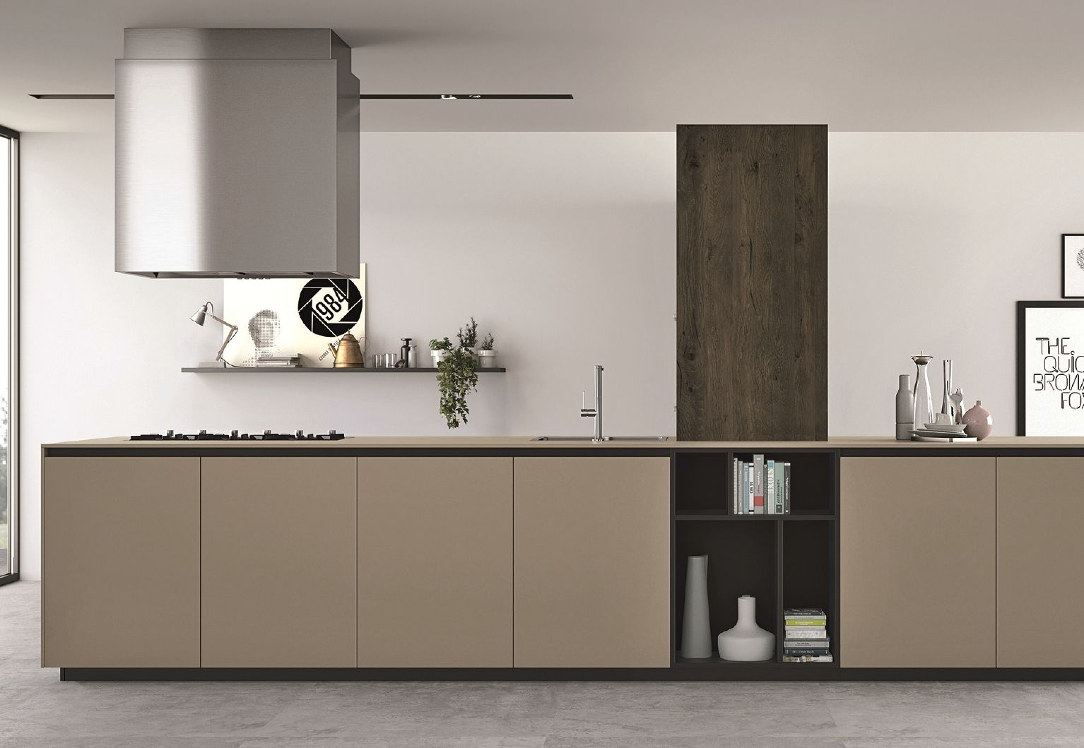 Kitchen top and doors made of fenix ntm beige luxor. courtesy of