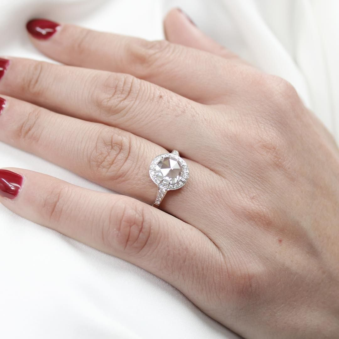 This custom Rose Cut manmade diamond engagement ring is absolutely ...
