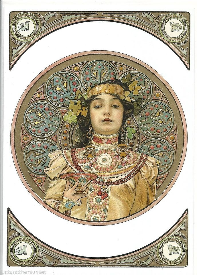 Alphonse Mucha 1899 Nouveau Advertising Poster Art deco Greeting Card Gold Girl