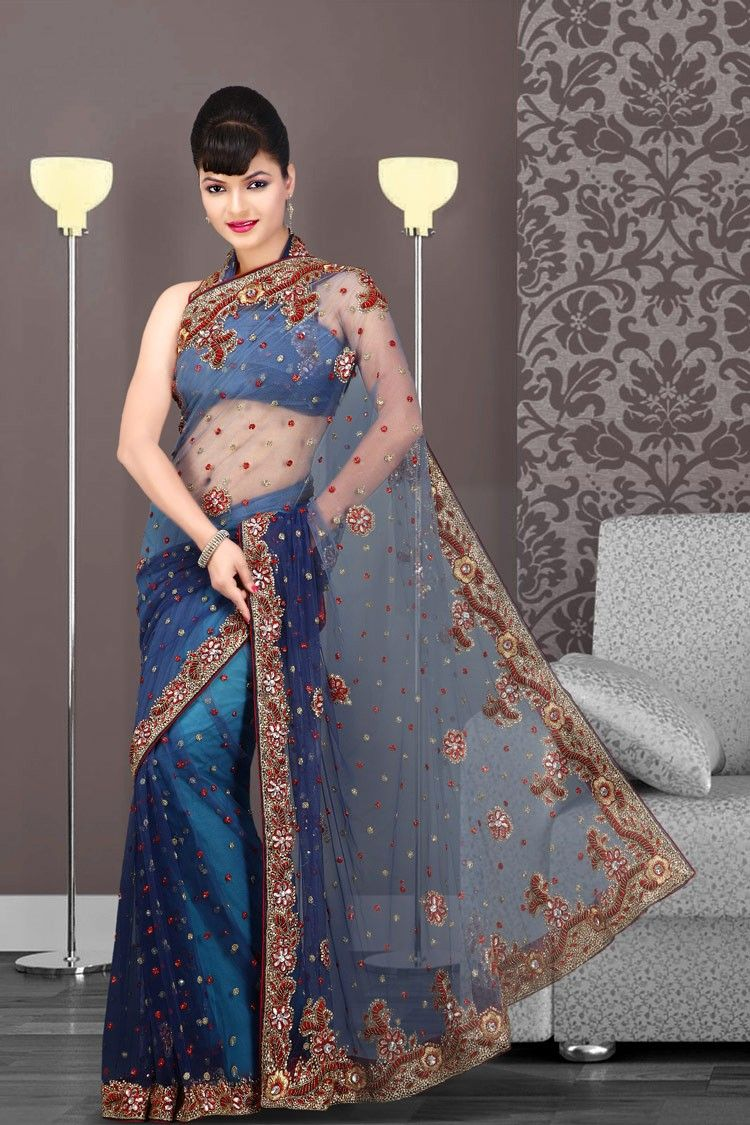 Glamorous Navy Blue Embroidered Saree. SEE HERE >>  http://www.gravity-fashion.com/5614-glamorous-navy-blue-embroidered-saree.html