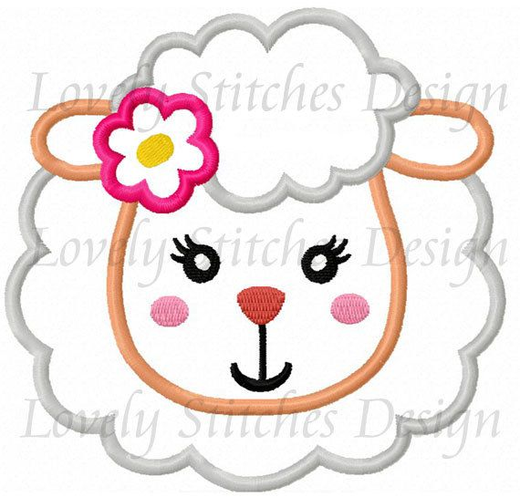 Girl Sheep Face Applique Machine Embroidery Design NO:0289 | PATCHWORK
