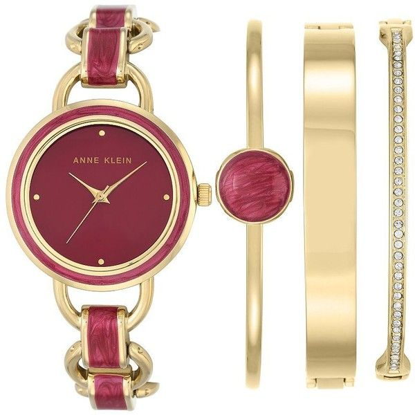 074d19782aaf Anne Klein Four-Piece Mixed Metal Watch and Swarovski Crystal Studded... (
