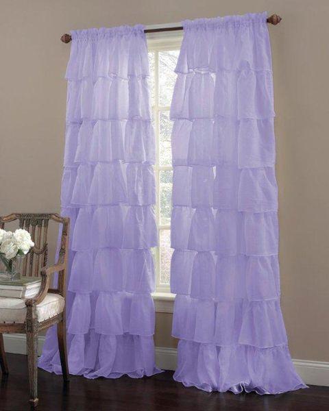 Gypsy Ruffled 84 Curtain Panel Lavender By Lorraine