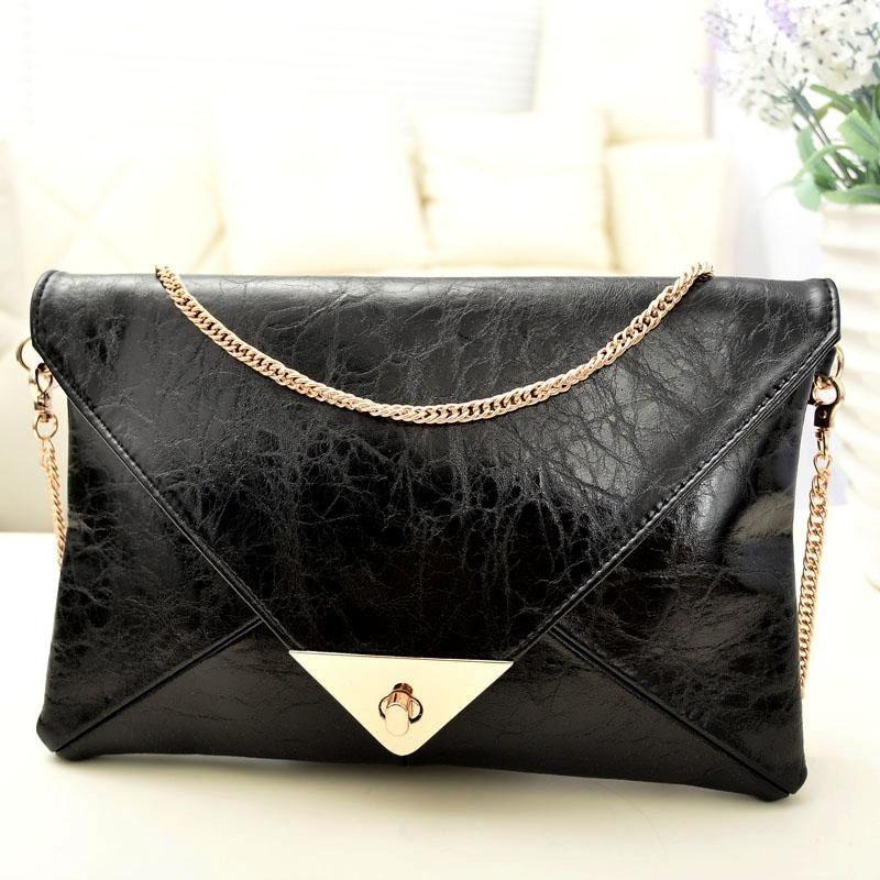 Fashion New Women Leather Handbag Clutch Envelope Shoulder Evening Bag Purse Hot