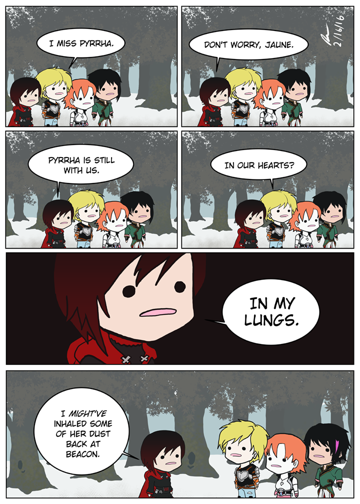Good job Ruby! Now we can all bring Pyrrha back to life with some weird-ass dark magic.