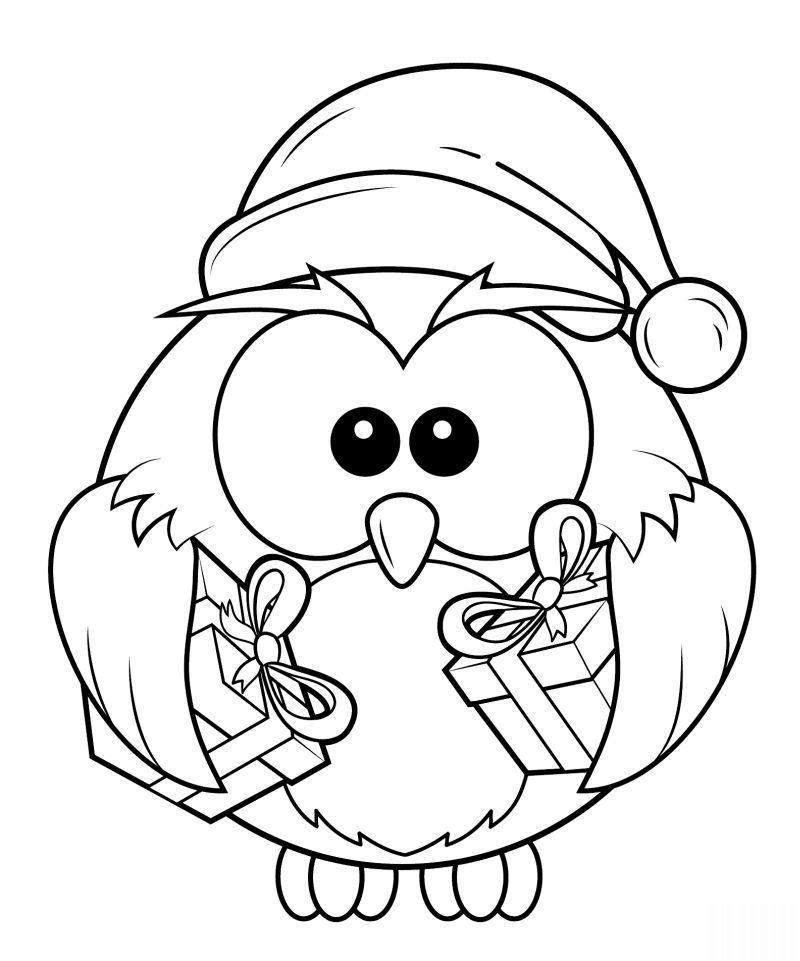 Coloriage Clown Hiver.Desenho Natalino Coruja Broderies Coloriage Noel Coloriage