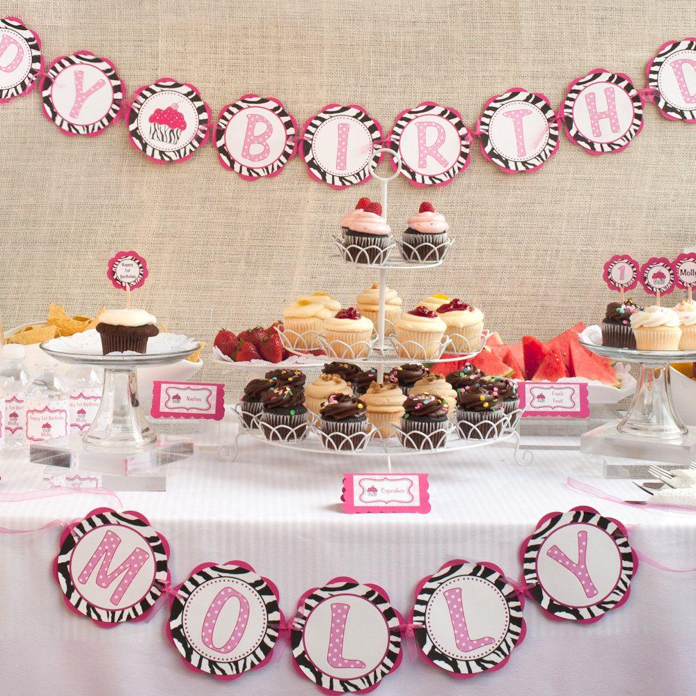 Zebra HAPPY BIRTHDAY Banner Pink Zebra Cupcake Theme Birthday
