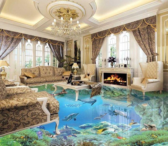 rev tement de sol trompe l 39 il effet 3d les dauphins et les poissons dans le rocher fond marin. Black Bedroom Furniture Sets. Home Design Ideas