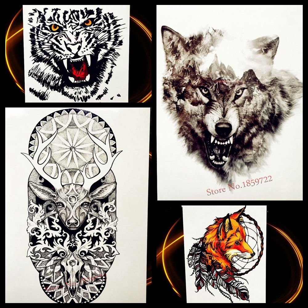 Forest timber wolf waterproof temporary tattoo black ink body art