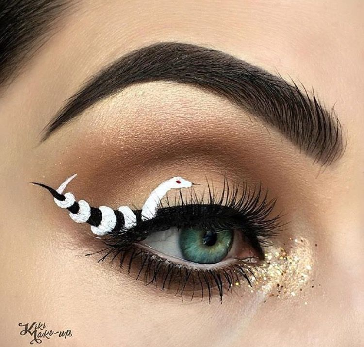 Makeup Eyebrow Eyeliner Eyeshadow Snake White Black Gold