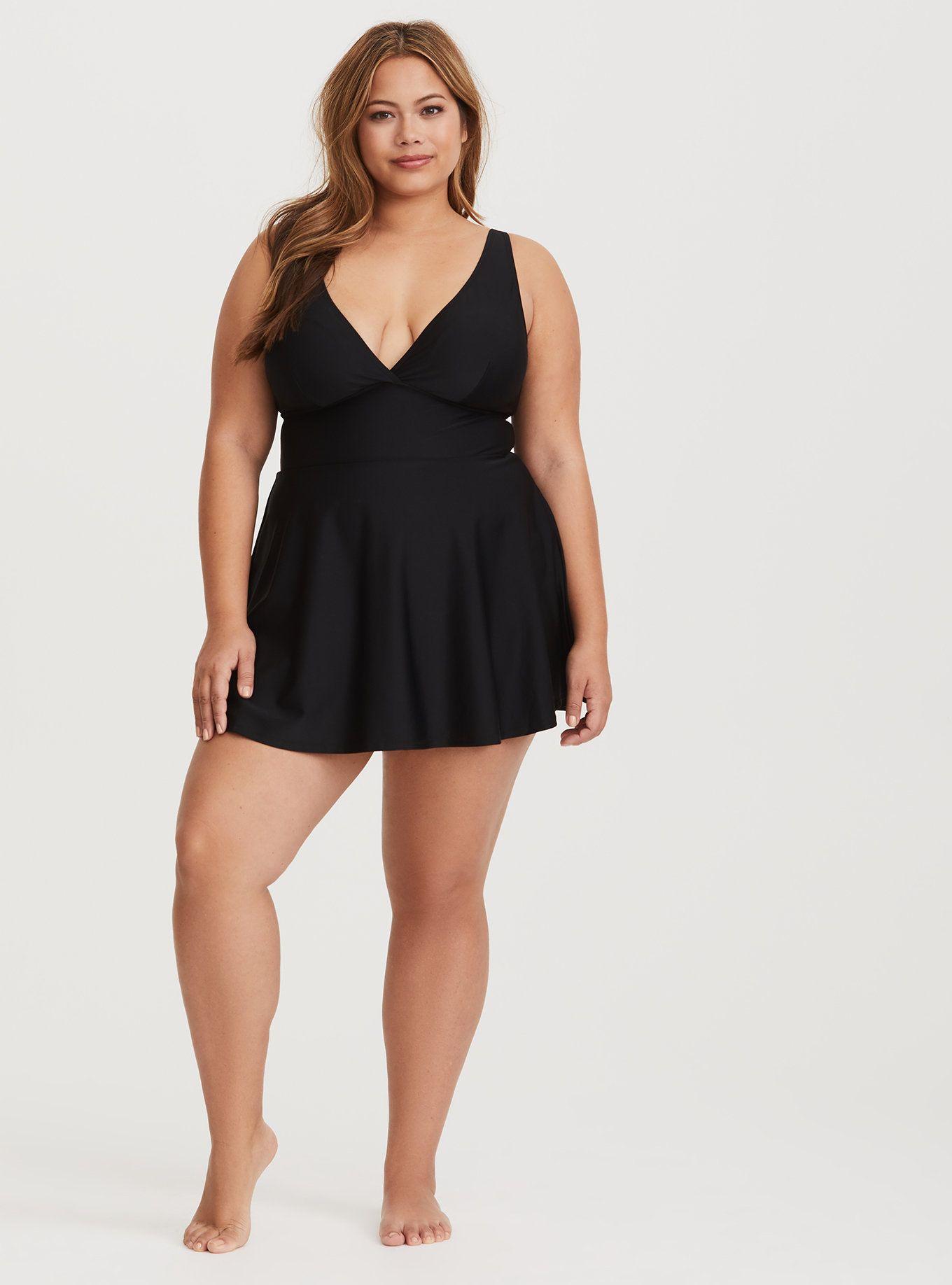 ed591de9d524a Black Deep-V Wireless Skater Dress Swimsuit, DEEP BLACK, alternate