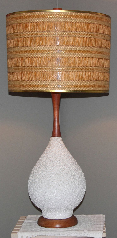 Mid Century Danish Lamp 37 5 Textured Base Burlap Jute Drum Shade