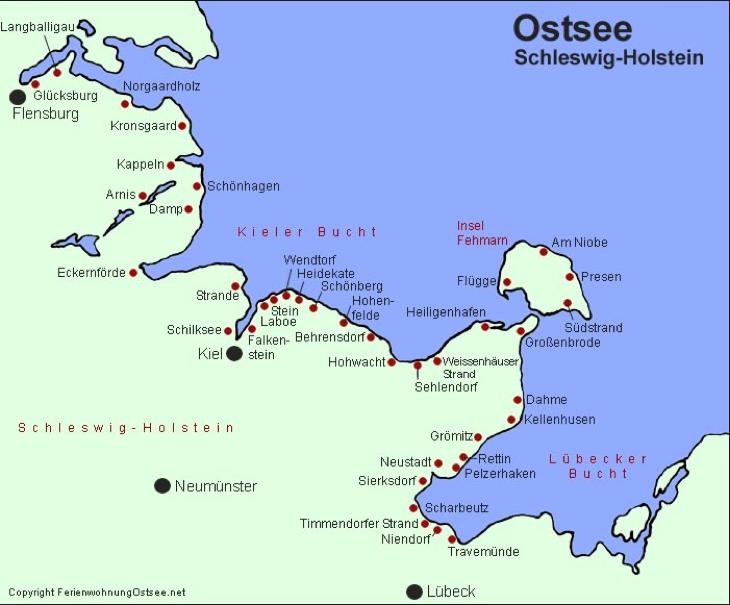 Ostsee Karte Schleswig Holstein.Karte Schleswig Holstein Ostsee Flensburg To Lübeck