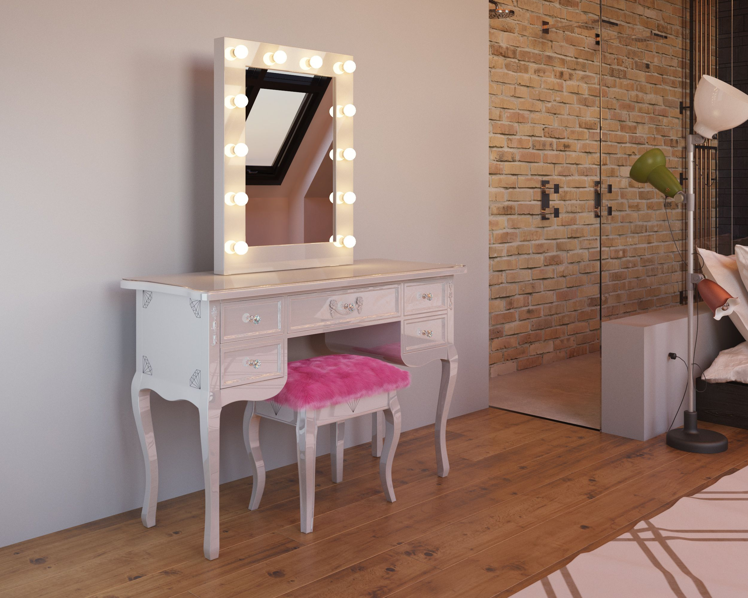 French style white dressing table & hollywood vanity