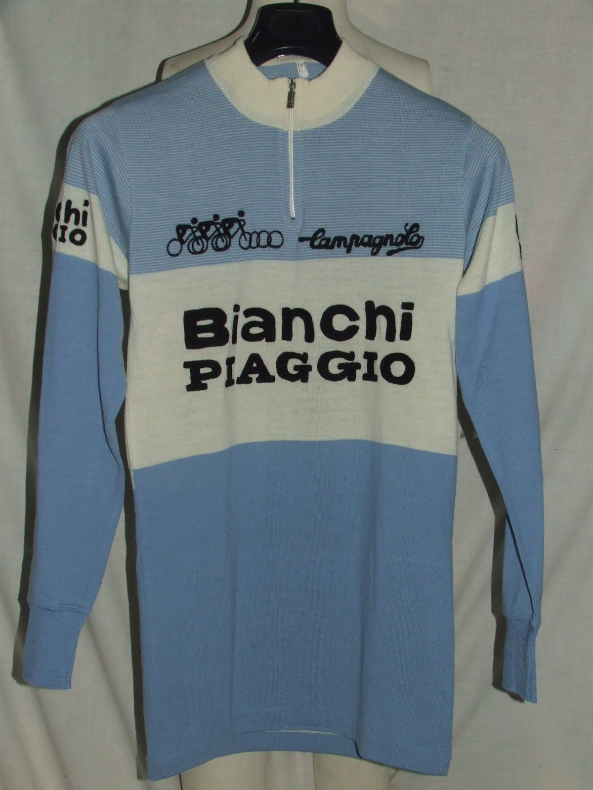 MAGLIA BICI SHIRT MAILLOT CICLISMO VINTAGE 70 S BIANCHI PIAGGIO LANA  RICAMATA  d4072b545