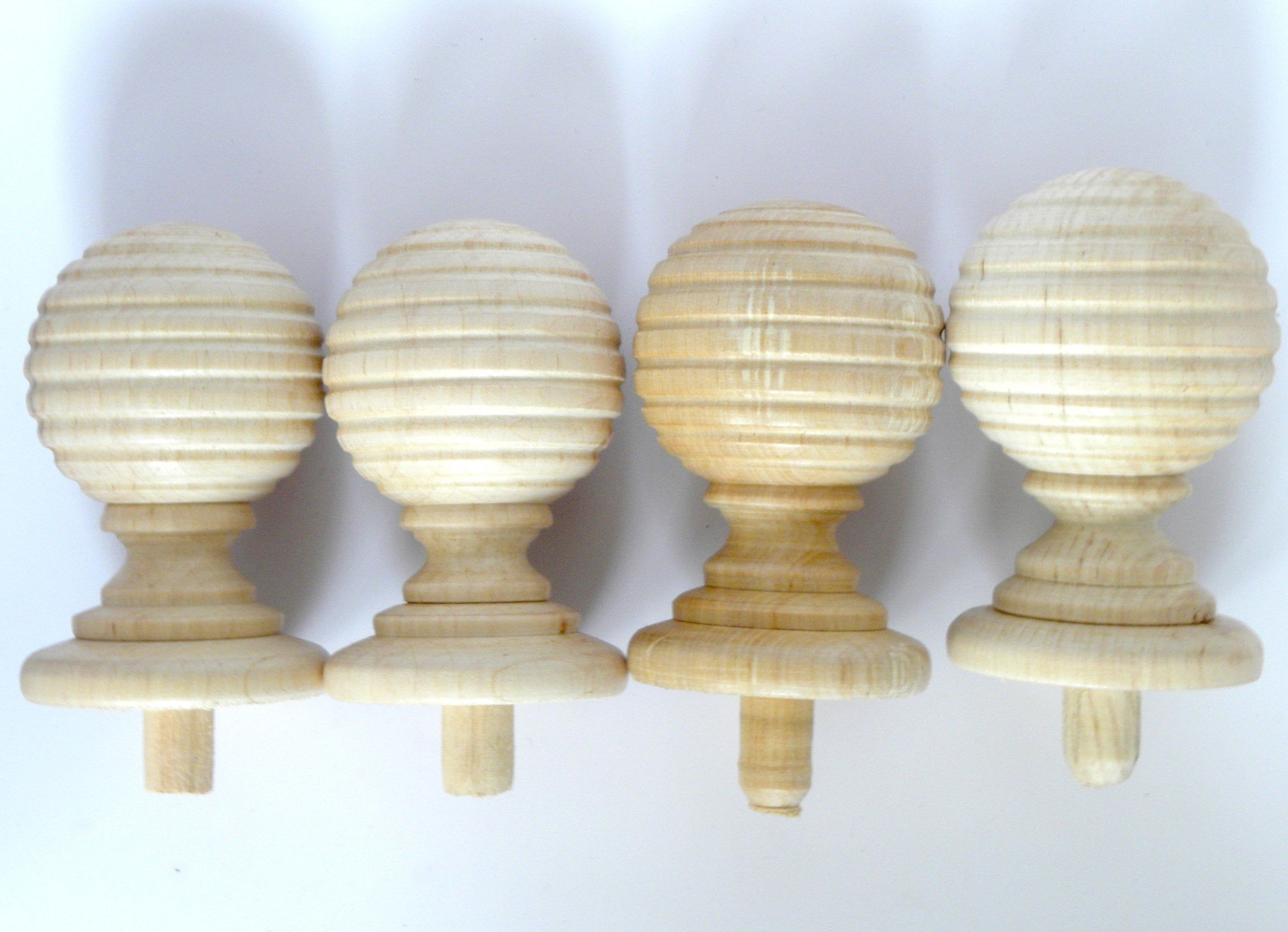 Curtain Rods Finials 4 Pieces Curtain Pole High Quality Wood