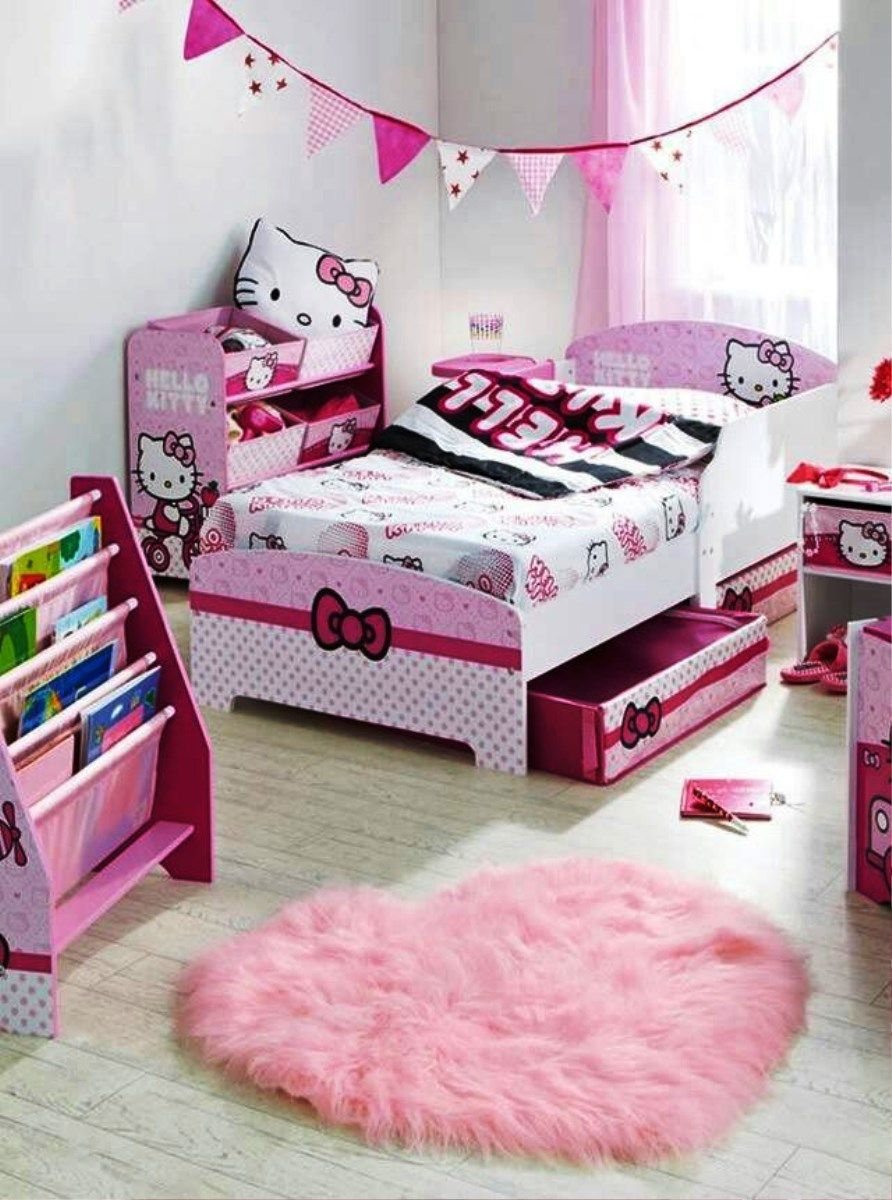 Adorable Hello Kitty Themed Kids Bed Design With Two Pull Out Storages Underneath In Hello