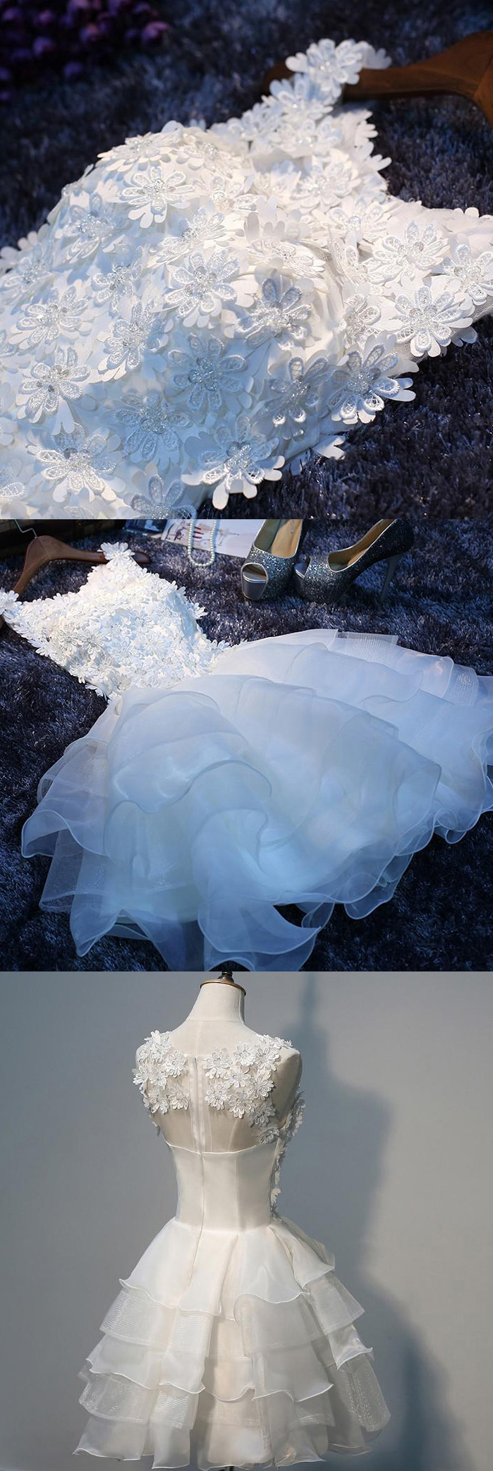 Custom made short prom homecoming dress nice white homecoming