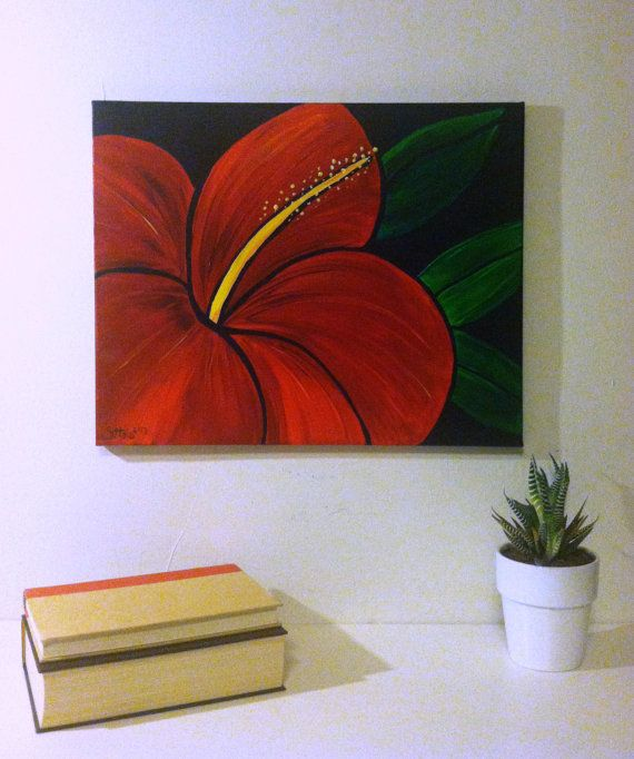 Red Hibiscus Vivid flower painting acrylic on by BluebirdBlackjack, $63.00