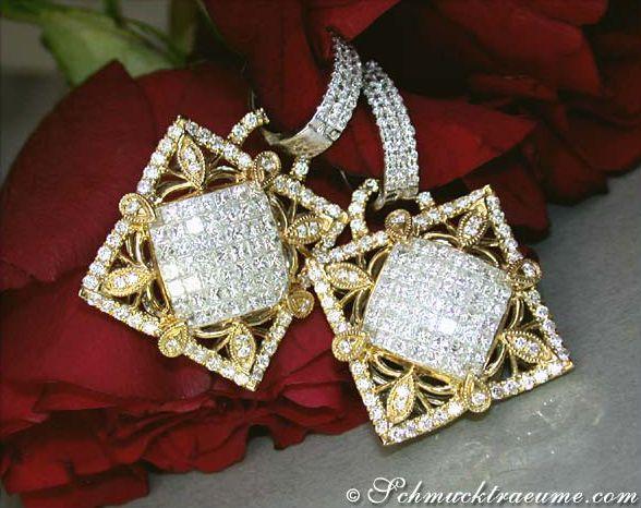High-diamond Diamond Dangling Earrings