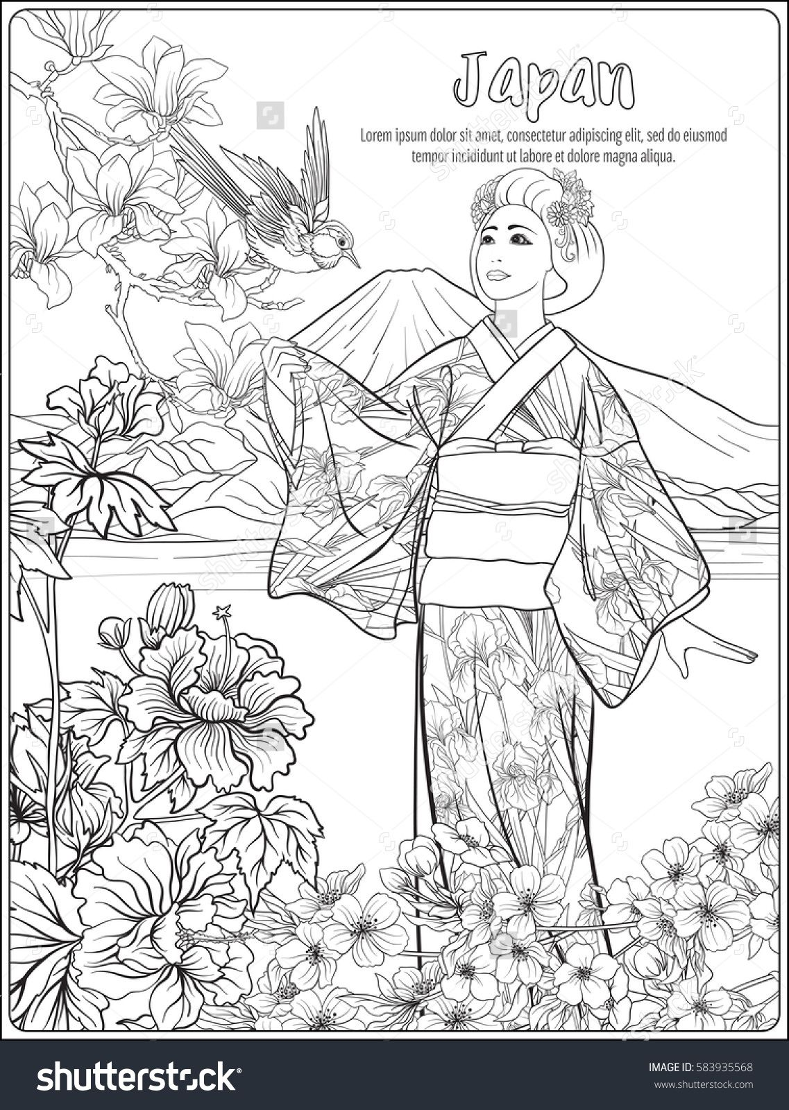 Japanese Landscape with Mount Fuji, sea, and Japanese woman kimono ...