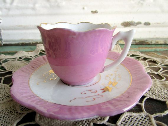 Antique Pearl luster pink teacup and saucer demitasse size
