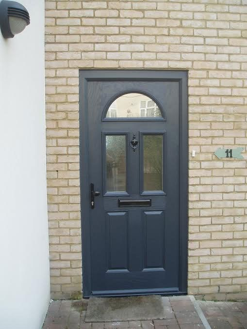 2 Panel 2 Square 1 Arch Glazed Composite Front Door in Grey