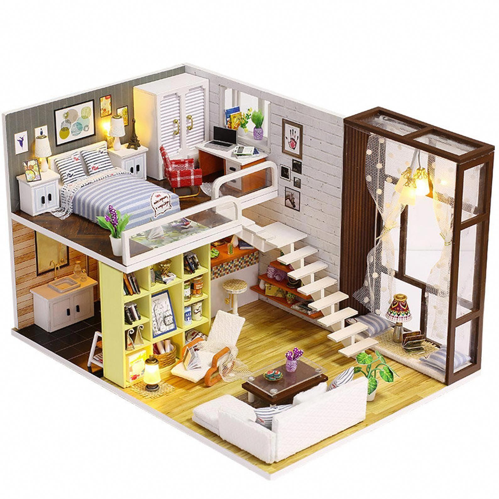 Miniature Bricolage Maison De Poupee Kit Appartement Loft Etsy Maisondecoration Miniature Miniaturegarden B Maison Sims Maison Playmobil Bricolage Maison