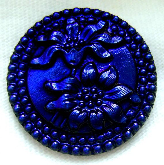 BLACK LUSTER GLASS BLOOMING SUNFLOWERS BUTTON