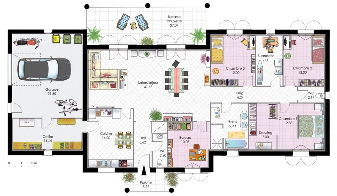 Plan de villa recherche google maison pinterest for Villa contemporaine plan