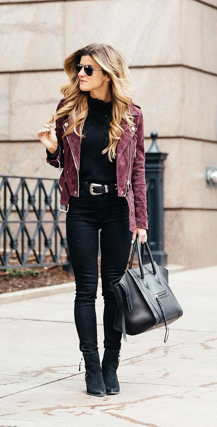 Wine suede jacket over all black. Leather jacket outfits