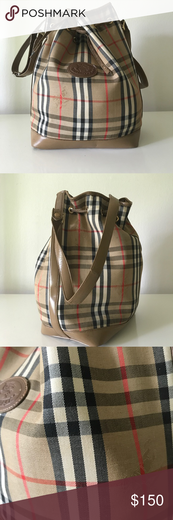 b30e24f7520f Authentic Vintage Burberry drawstring bucket bag Vintage Burberrys bucket  tote the bag has been refurbished painted