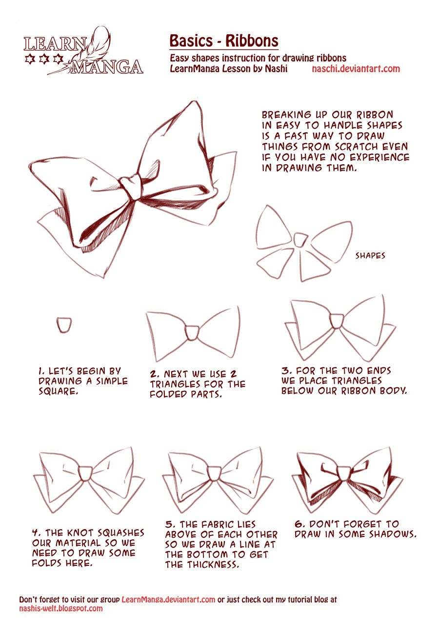 Learn Manga Basics Ribbons By Naschi On Deviantart Manga Tutorial Manga Drawing Drawing Tutorial