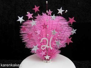 CAKE TOPPER WITH OSTRICH FEATHERS AND DIAMANTE NUMBER 18th 21st 30th 40th etc | eBay