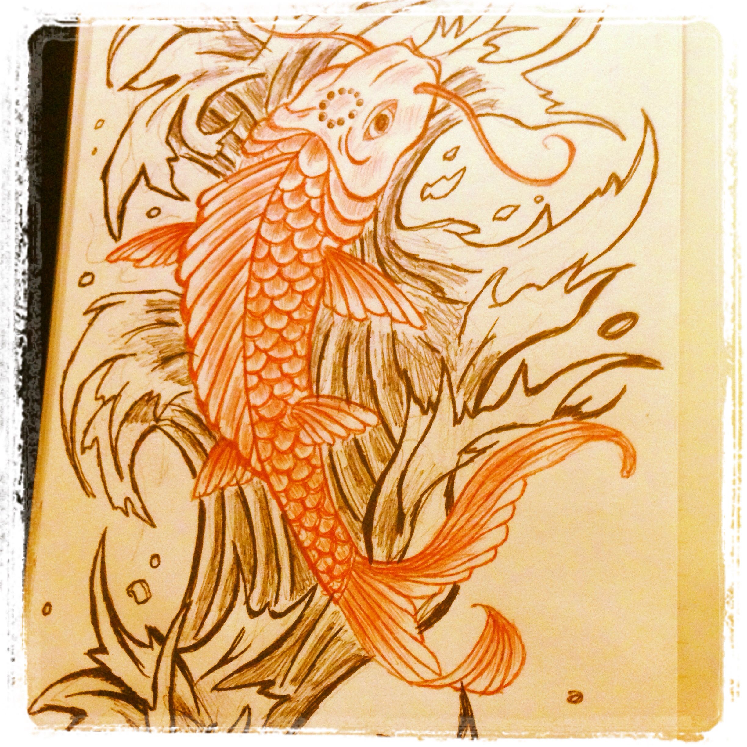 Practice Drawing Waves And Koi Fish