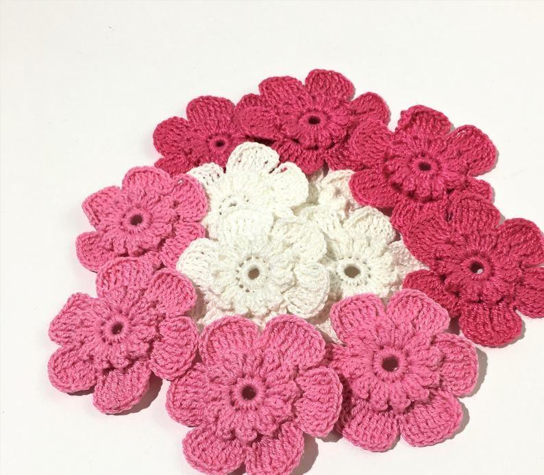 """Handmade  Flower Crochet decoration white color Cotton 2/"""" lot 20 Appliques"""