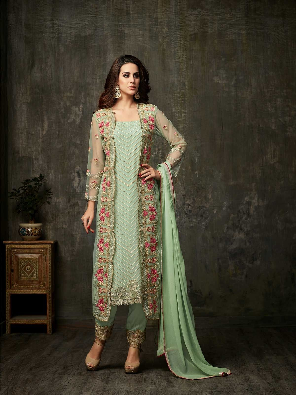 26a49fe6df Buy pastel green straight cut salwar kameez online for women at exciting  prices for all occasions. Style yourself with party wear designer salwar  suits and ...