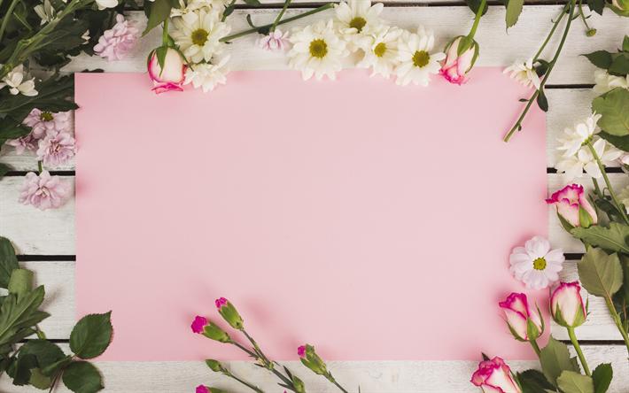 Download imagens Rosas, crisântemos, rosa de papel, flores