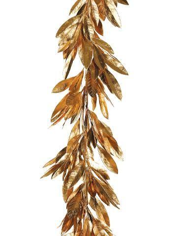 Artificial Metallic Gold Holiday Bay Leaf Garland Leaf Garland Wedding Silk Flowers Wedding Leaf Garland