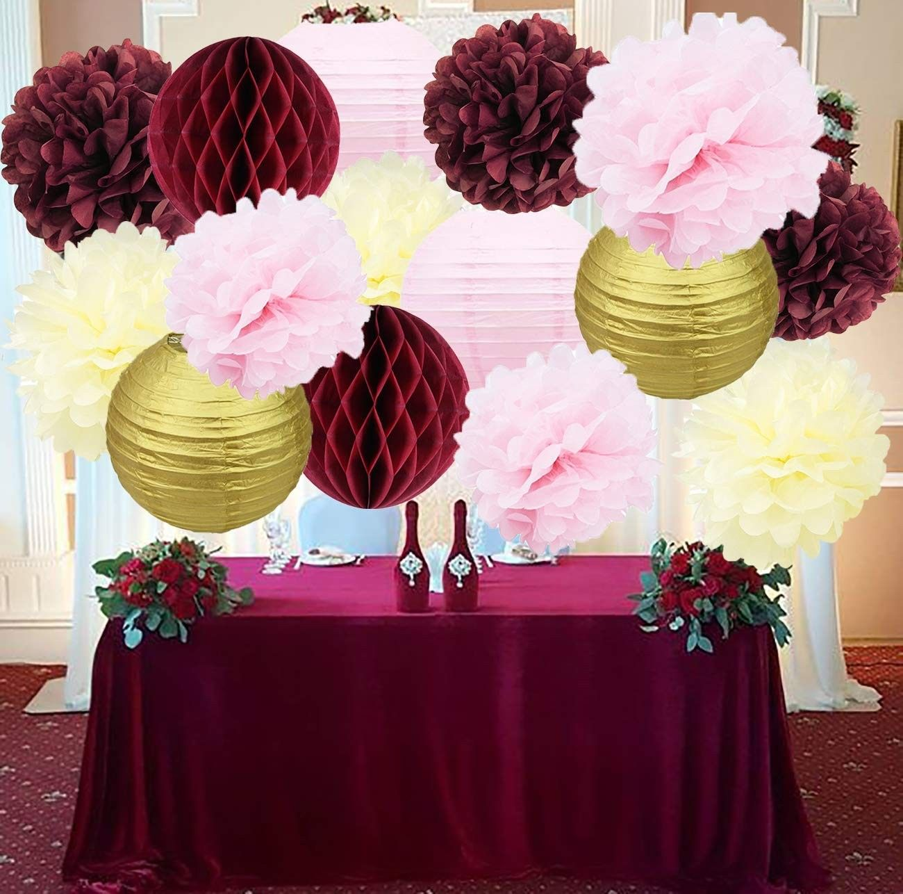 Bridal Shower Decorations Burgundy Pink Cream Glitter Gold Tissue Pom Pom Flower Paper Lanterns Honeycomb Balls Wedding Engagement Party Supplies C3188ihaah4 Engagement Party Wedding Bridal Shower Decorations Bridal Shower