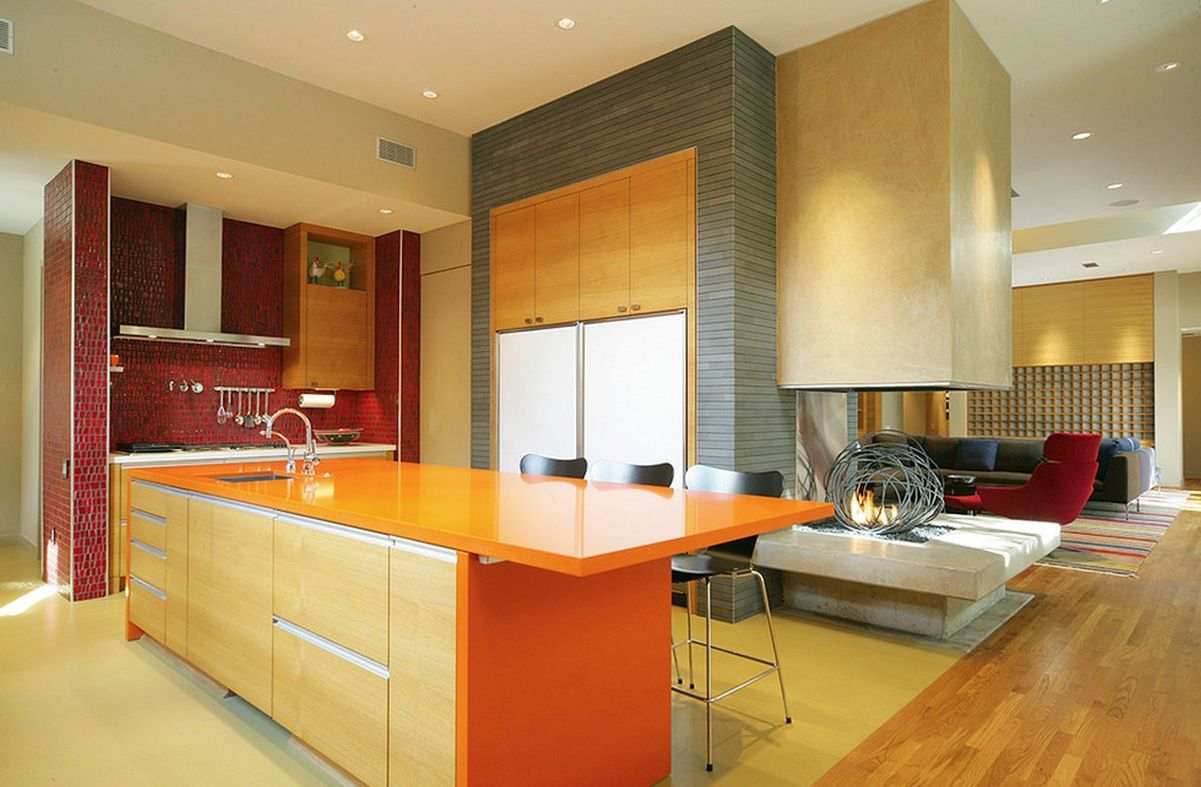 Kitchen Colors Ideas blocks of color feel architectural..kitchen color ideas red