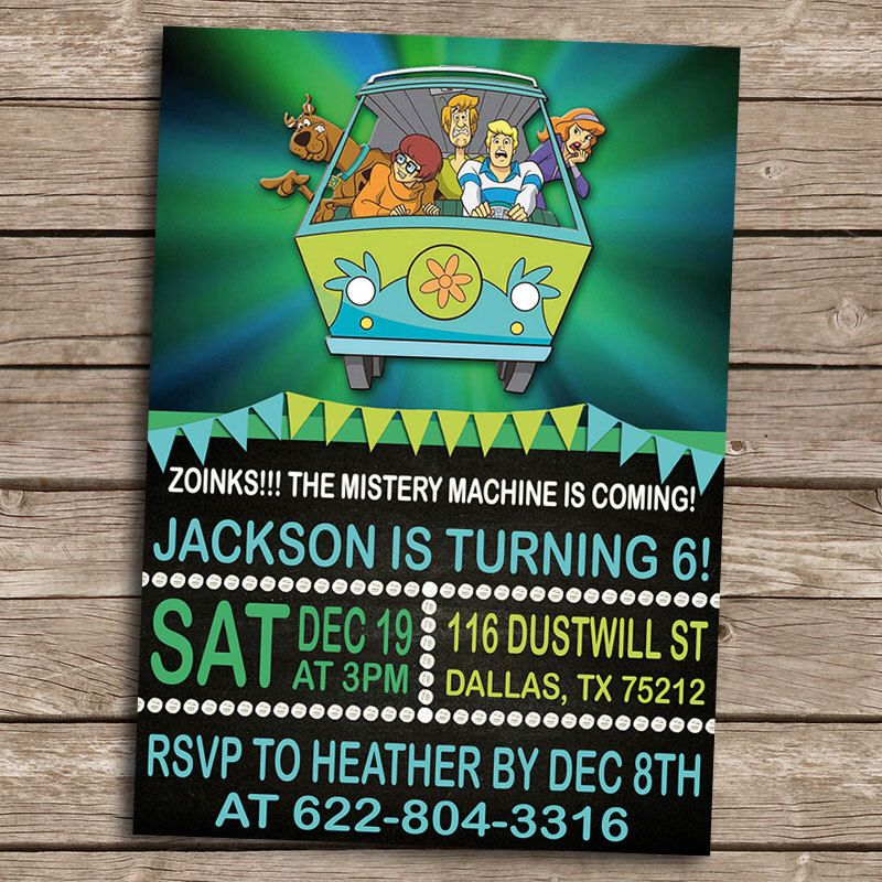 ScoobyDoo Birthday Invitation Personalized Printable ScoobyDoo