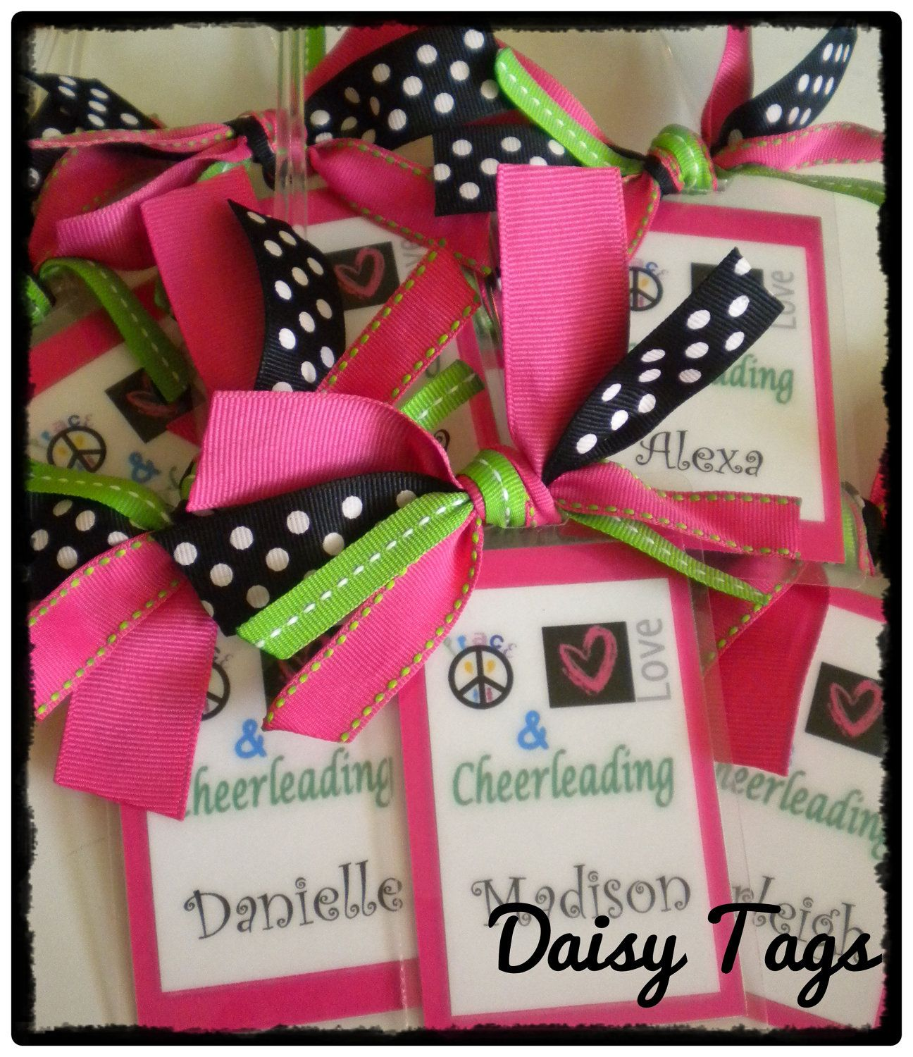 Peace Love Cheerleading Bag Tag Cusomized For You Or Cheer Dance Team