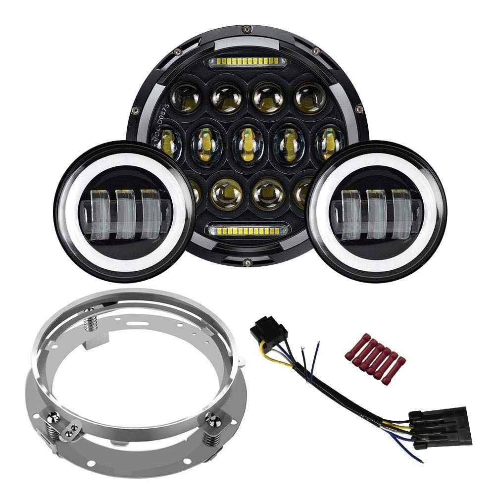 7 inch LED Headlight Fog Passing Lights DOT Kit Set Ring Motorcycle Headlamp Ring for Harley Davidson Touring Road King Ultra Classic Electra Street Glide Tri Cvo Heritage Softail Deluxe Fatboy Chrome