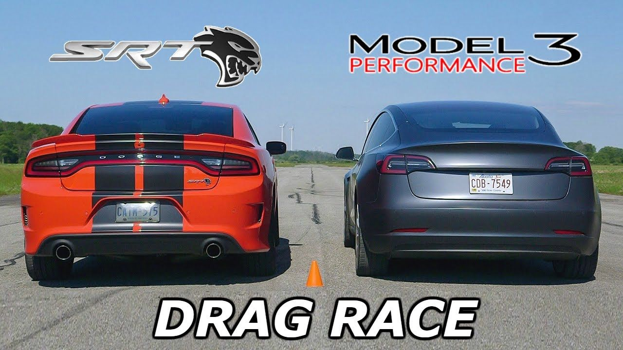 Drag Race Dodge Charger Srt Hellcat Vs Tesla Model 3 Performance Throttle House Track Series Youtube Dodge Charger Srt Charger Srt Dodge Charger