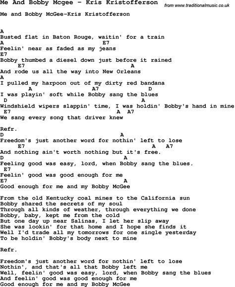 Song Me And Bobby Mcgee by Kris Kristofferson, with lyrics for vocal ...