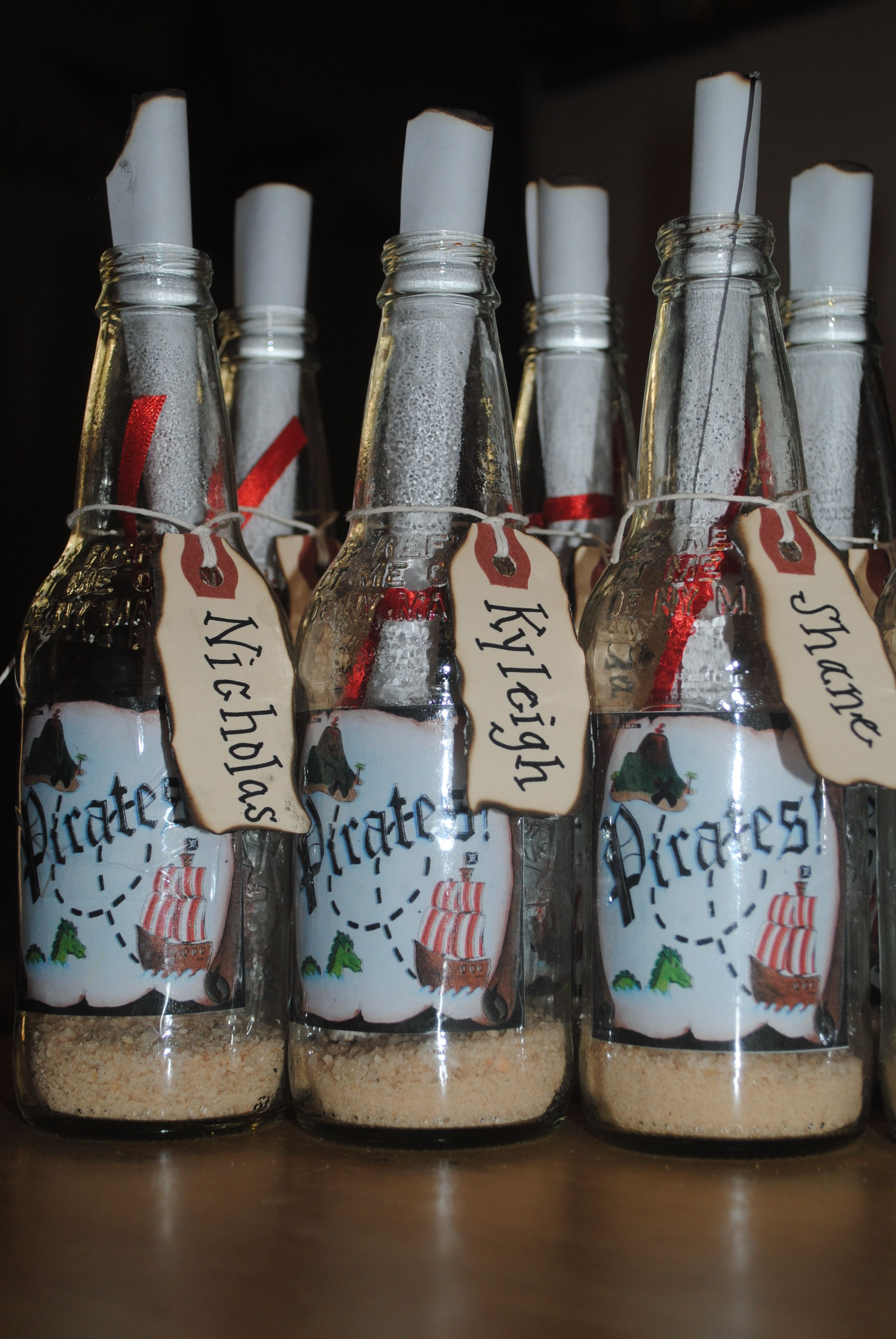 Pirate Party theme...Invitation in a bottle using cream soda bottles ...